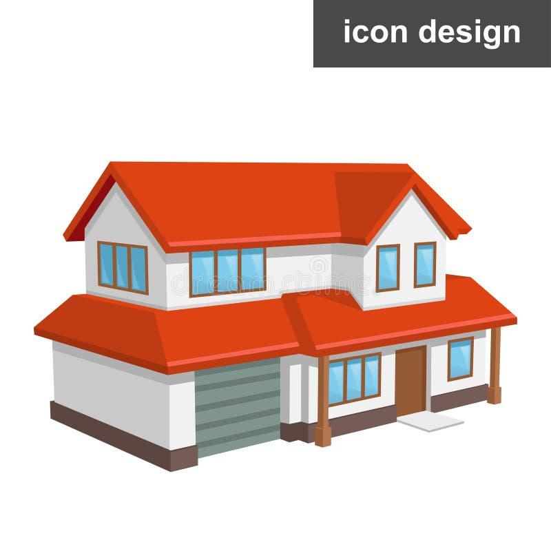 Casa isometrica dell'icona illustrazione di stock