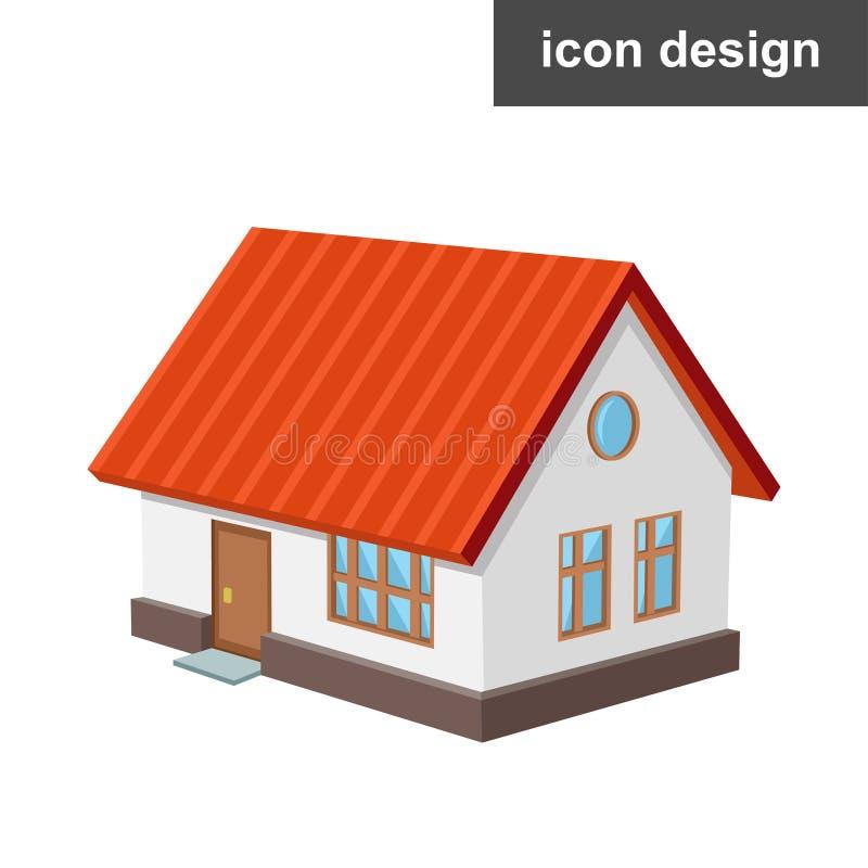Casa isometrica dell'icona immagine stock libera da diritti