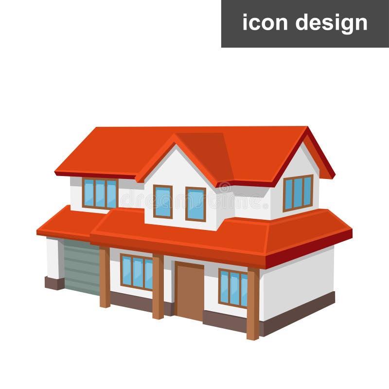 Casa isometrica dell'icona illustrazione vettoriale