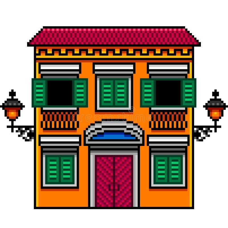 A casa italiana alaranjada da arte do pixel com luzes de rua isolou o vetor ilustração royalty free