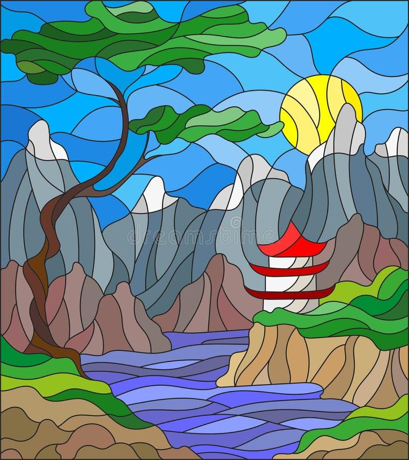 Casa japonesa del paisaje del ejemplo del vitral en fondo, montañas y los ríos del cielo libre illustration