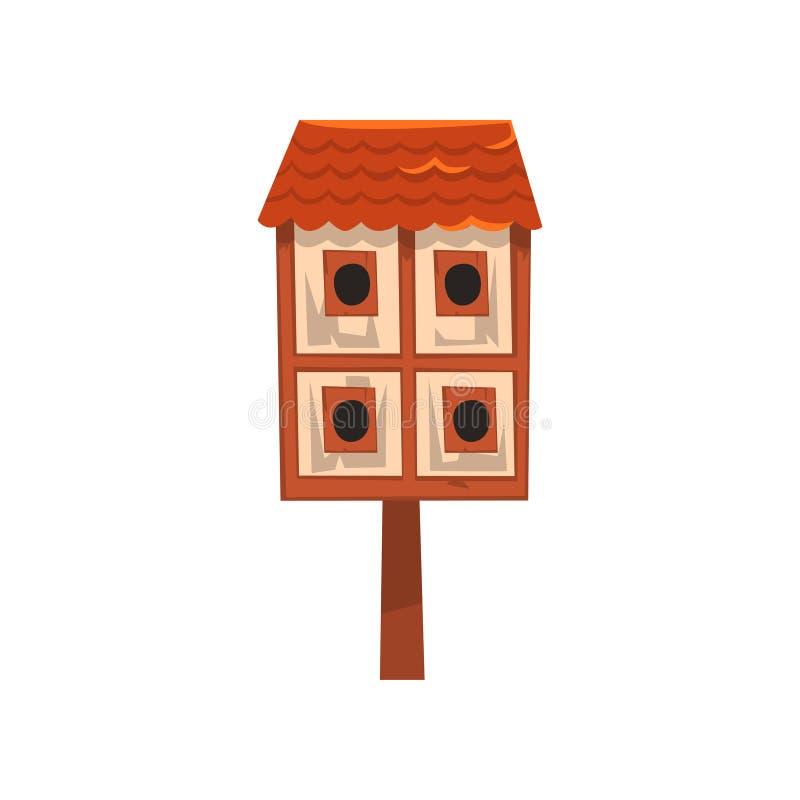Casa leggendaria dell'uccello due di legno svegli, illustrazione di vettore del fumetto del nido per deporre le uova su un fondo  illustrazione vettoriale