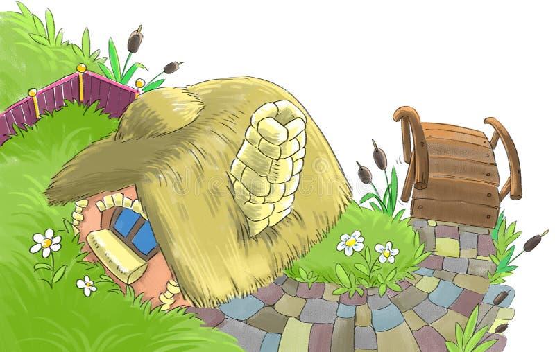 Casa leggiadramente vicino al fiume royalty illustrazione gratis