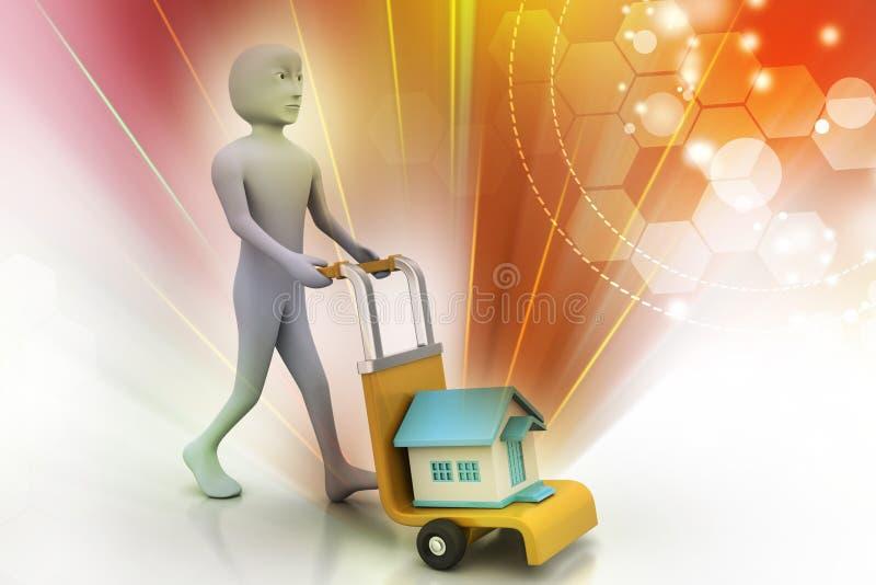 Casa levando da pessoa no trole ilustração stock