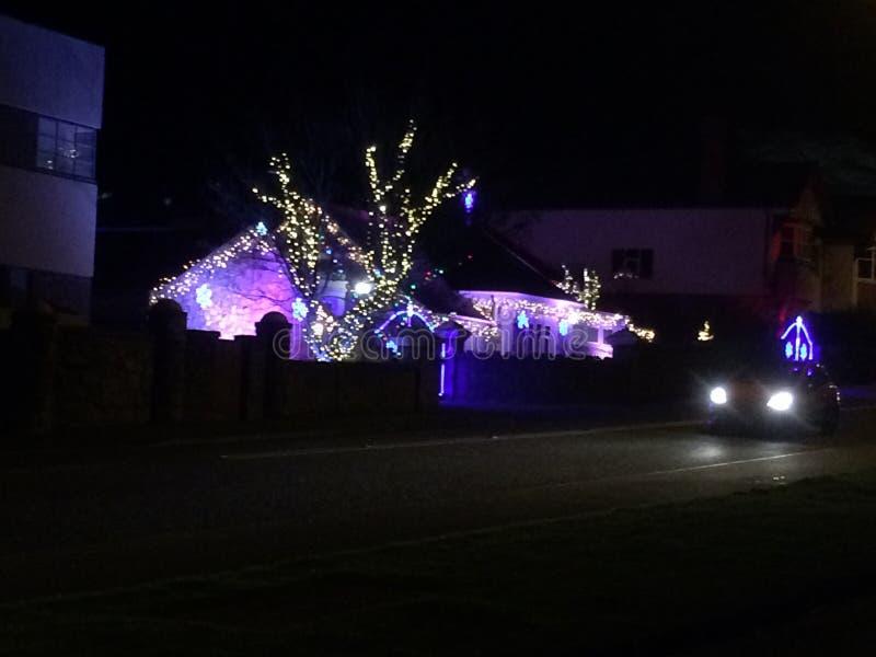 Casa ligera de la Navidad imagenes de archivo