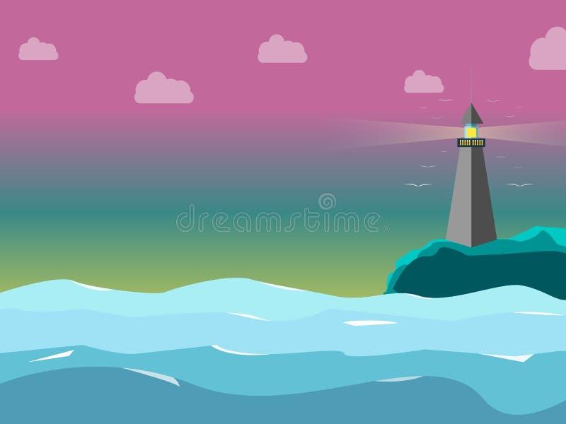 Casa ligera en el mar con dulce el color del cielo ilustración del vector