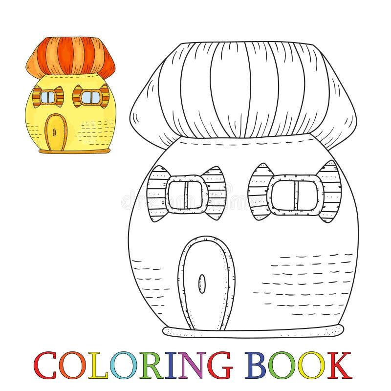 Casa linda colorida del cuento de hadas en estilo de la historieta Color y contorno, ejemplo del vector del libro de colorear stock de ilustración