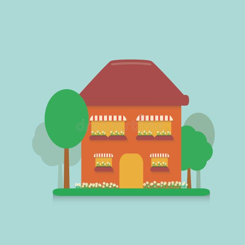 Casa lisa dos desenhos animados nos subúrbios com um lote pequeno plantado com flores, margaridas e as árvores plantadas ilustração stock