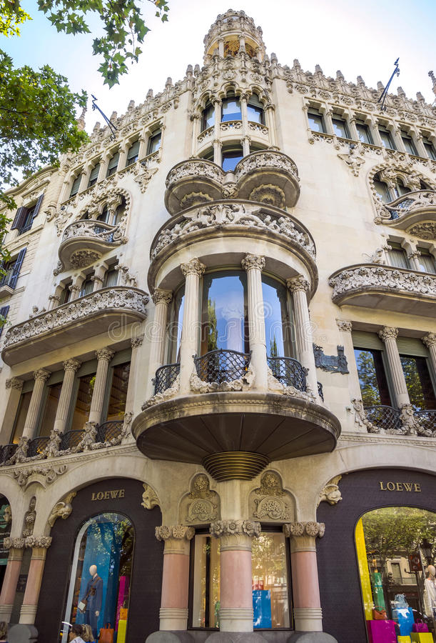 Casa Lleo Morera in Barcelona. BARCELONA, SPAIN - JULY 5, 2016: Casa Lleo Morera in Barcelona, Spain. Was built in 1902-1906 by Catalan architect Domenech i stock photography