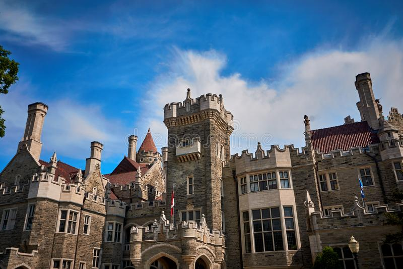 Casa Loma Toronto Canada. Casa loma , Toronto,architecture, building, castle,palace, city, old, stone, sky, history, travel, landmark, tourism,medieval,historic stock photo