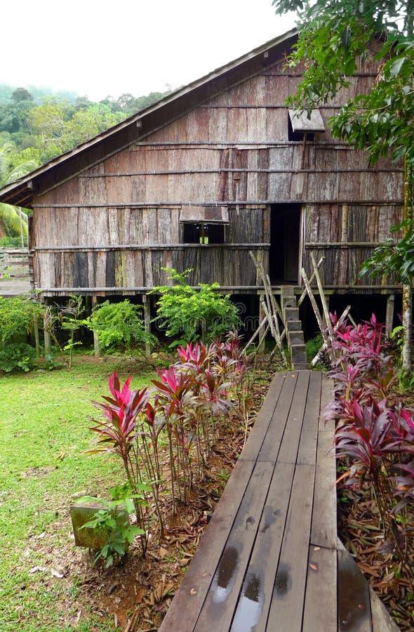 Casa lunga della tribù di Iban in Sarawak, Borneo fotografia stock libera da diritti