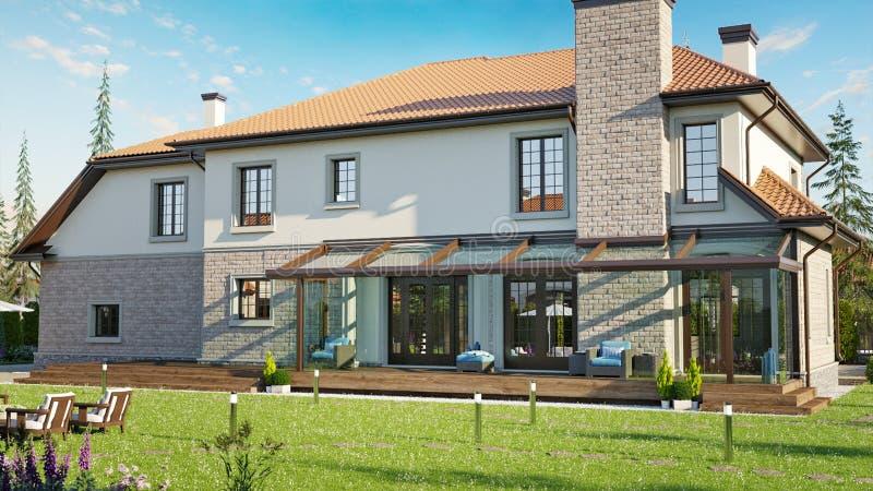 Casa luxuosa da família com ajardinar ilustração royalty free