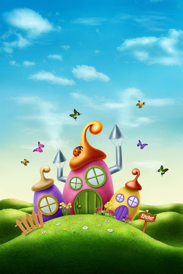 Casa mágica de pascua libre illustration