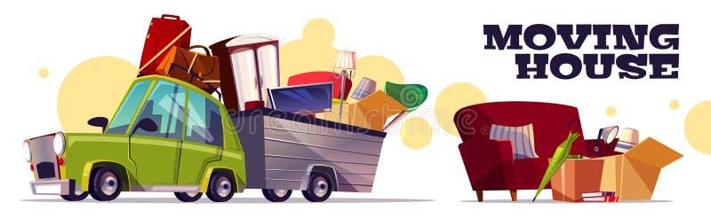 Casa móvil en concepto del vector de la historieta del coche stock de ilustración