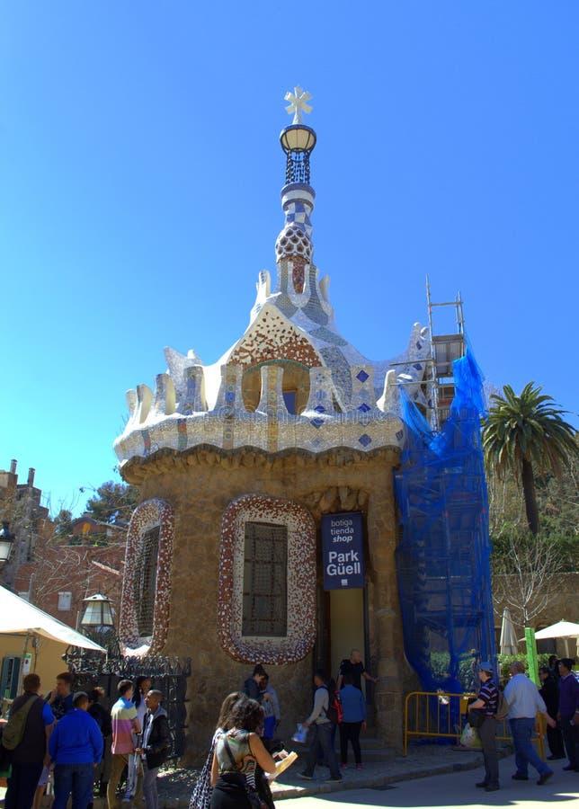 Casa magica panoramica, parco Guell, Barcellona fotografia stock libera da diritti