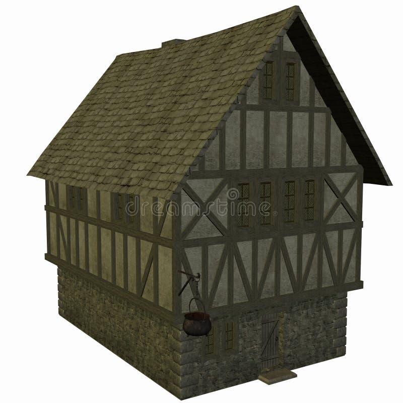 Casa medieval stock de ilustración