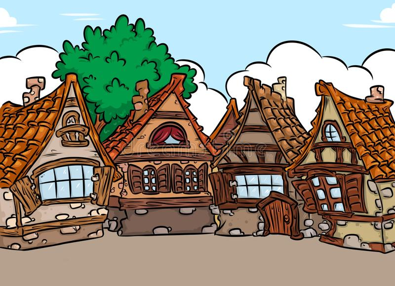 Casa medieval del fondo de la arquitectura stock de ilustración