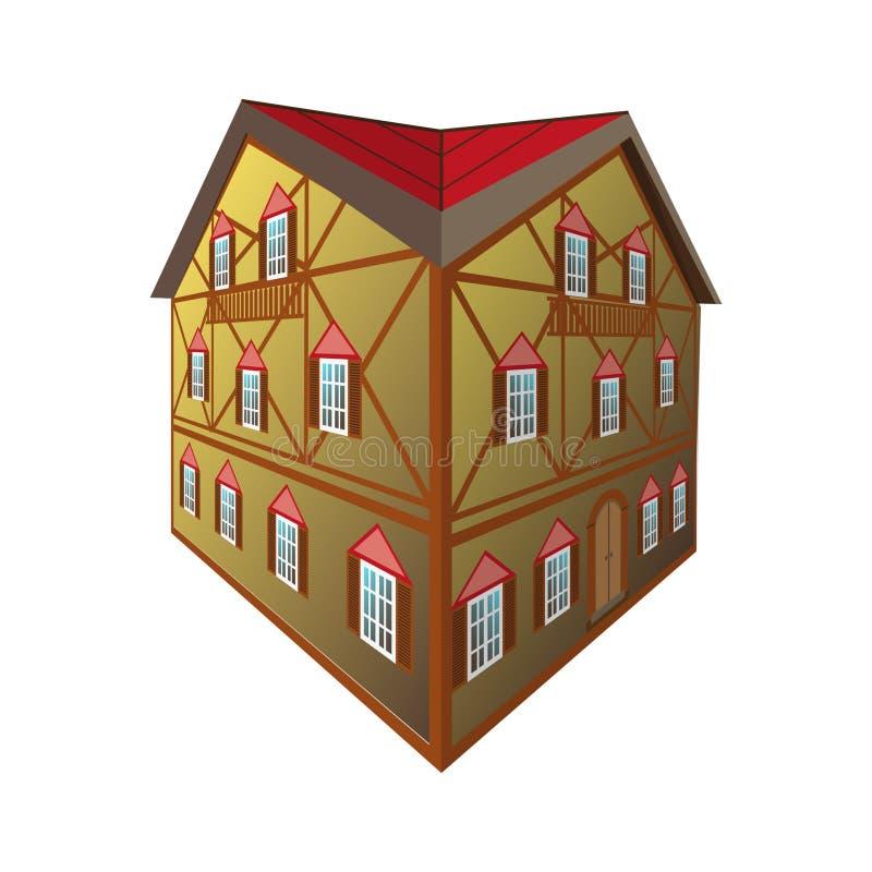 Casa medival isolata illustrazione vettoriale