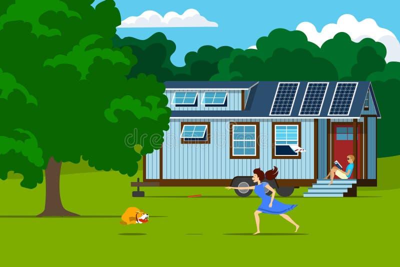 Casa minúscula autônoma com os painéis solares na natureza ilustração royalty free