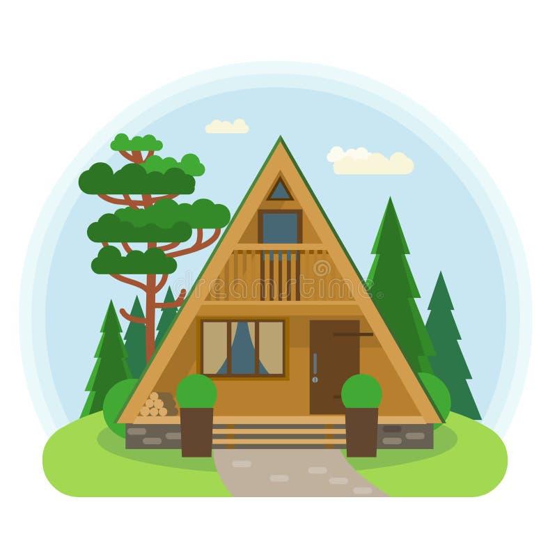 Casa minúscula del Uno-marco Ejemplo del vector en estilo plano libre illustration