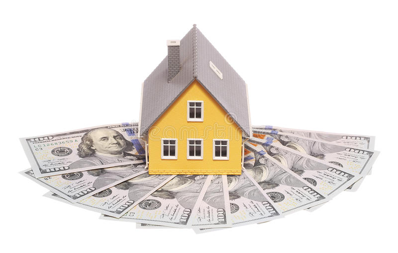 Casa minúscula e dinheiro isolados mortgage imagens de stock royalty free