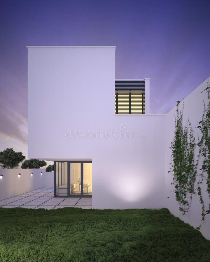 Casa minimalista del estilo moderno exterior en la oscuridad ilustración del vector