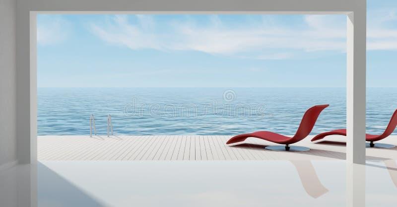 Casa minimalista del mar libre illustration