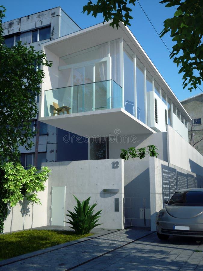 Casa minimalista moderna fotografia stock immagine di for Piani di casa minimalista