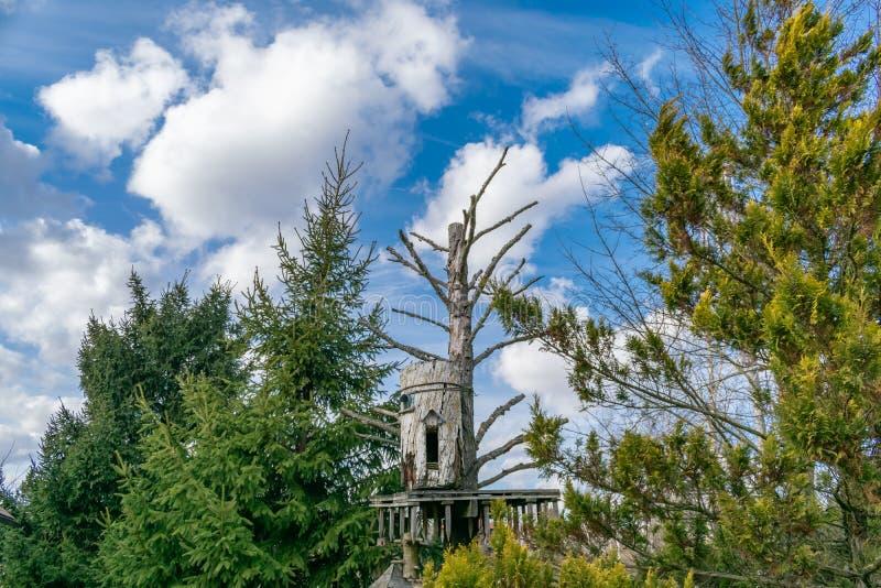 A casa misteriosa de Baba Yaga em uma árvore fotos de stock royalty free