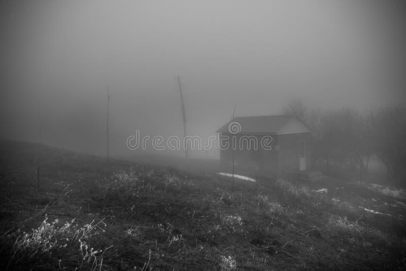 Casa misteriosa nella foresta con nebbia e un albero La vecchia casa spettrale sulla terra di in nessun posto fotografie stock