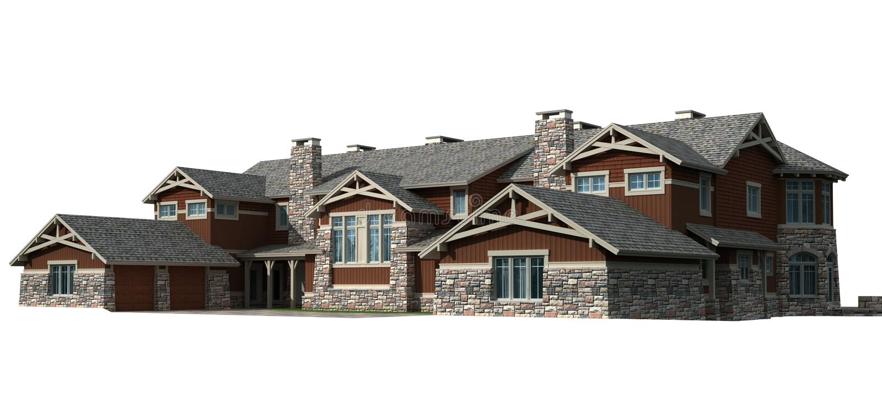 casa modelo do condomínio 3D ilustração stock