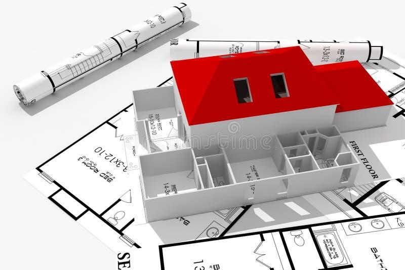 casa moderna 3d e cianografie isolate su bianco royalty illustrazione gratis