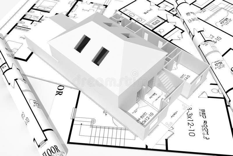 casa moderna 3d e cianografie isolate su bianco illustrazione di stock