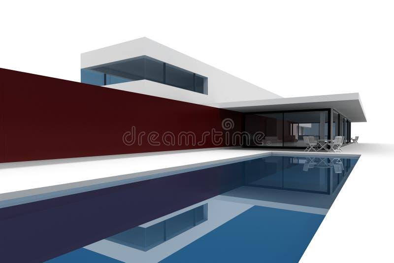 casa moderna 3d en el fondo blanco stock de ilustración