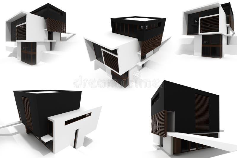 casa moderna 3d isolata su bianco illustrazione di stock