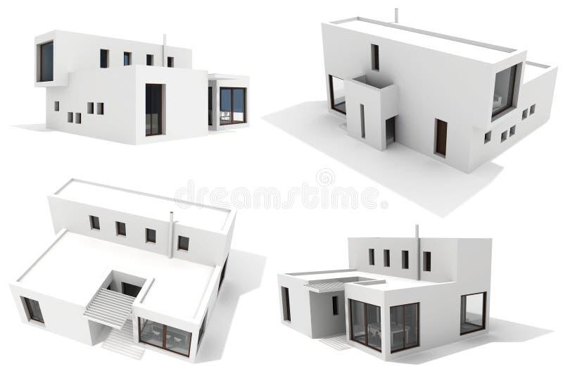 Casa moderna 3d isolata su bianco illustrazione di stock for Casa moderna bianca