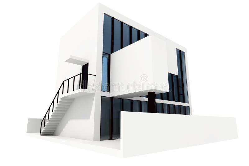 casa moderna 3d, isolata su priorità bassa bianca royalty illustrazione gratis