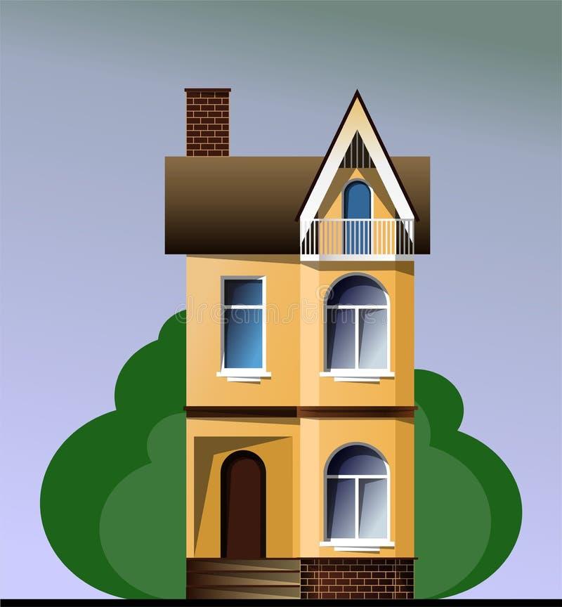 Casa moderna colorida da casa de campo com as árvores no fundo azul Construções gráficas ilustração do vetor