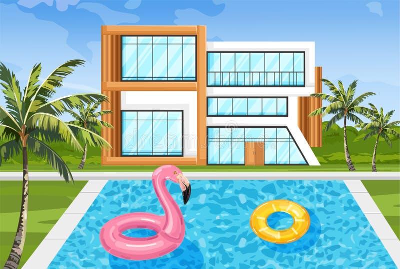 Casa moderna com vetor da piscina Ambientes da natureza do verão da fachada da arquitetura ilustração stock