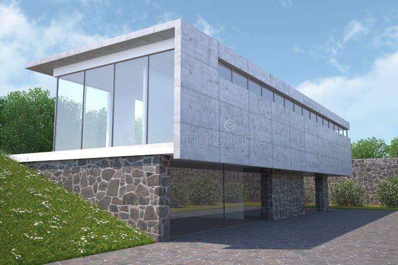 Casa moderna con il giardino vista esteriore for Download gratuito di piani casa moderna