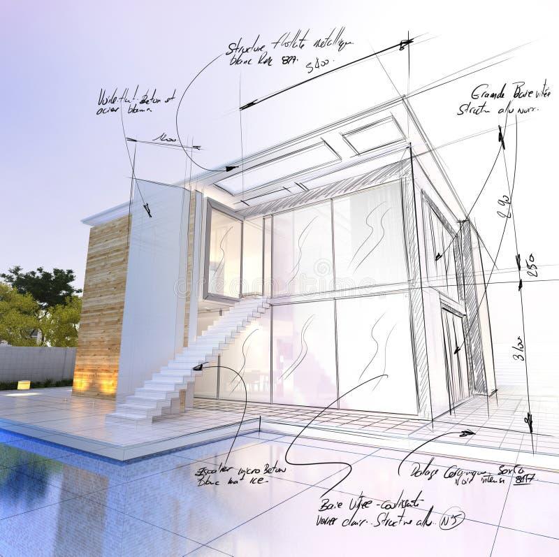 Casa moderna con il progetto di progetto di architettura dello stagno illustrazione vettoriale