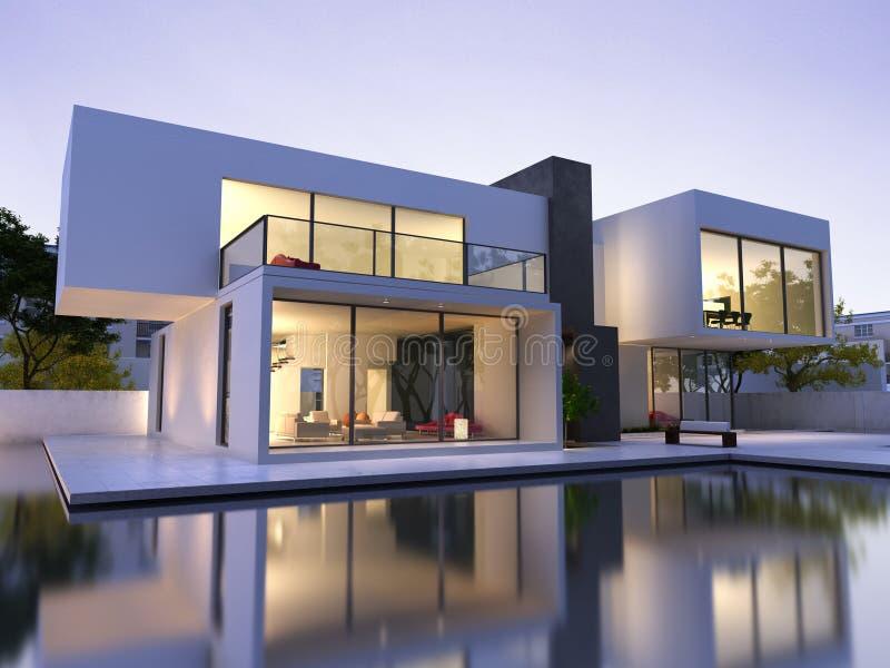 Casa moderna con la piscina stock de ilustración