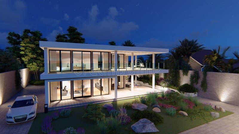 Casa moderna 3d ilustração stock