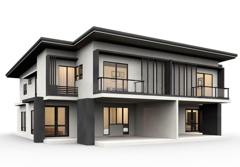 Casa moderna 3d che rende stile di lusso isolato su fondo bianco royalty illustrazione gratis