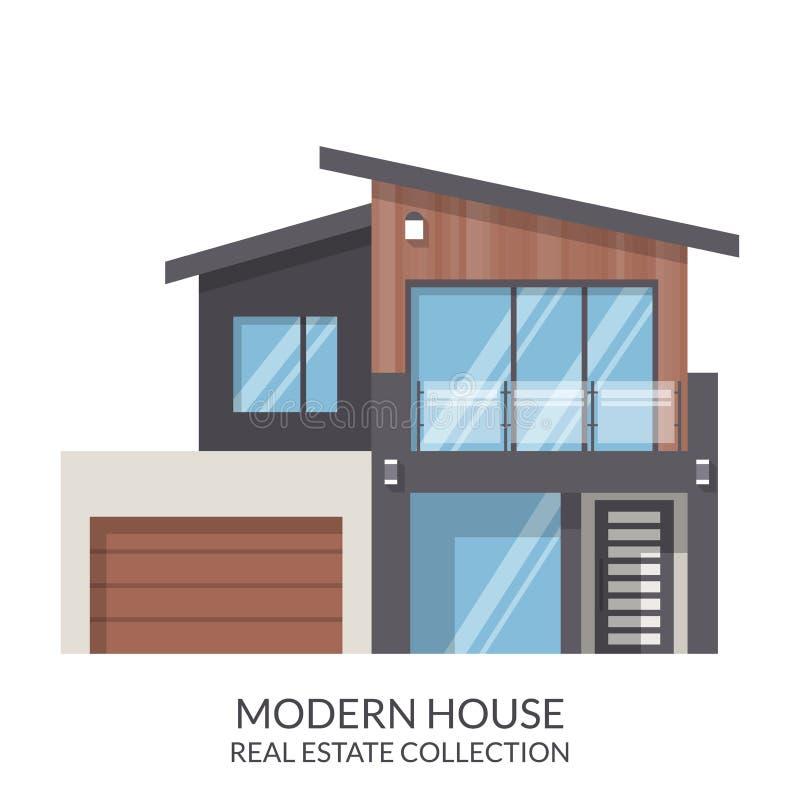 A casa moderna da família, bens imobiliários assina dentro o estilo liso Ilustração do vetor ilustração stock