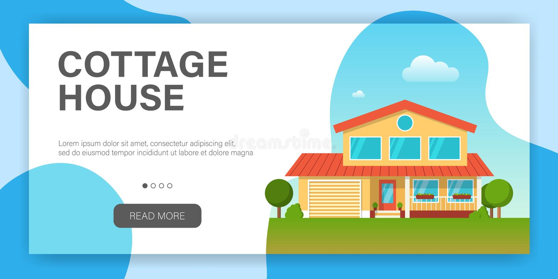 Casa moderna de la cabaña Plantilla del diseño de la página web stock de ilustración