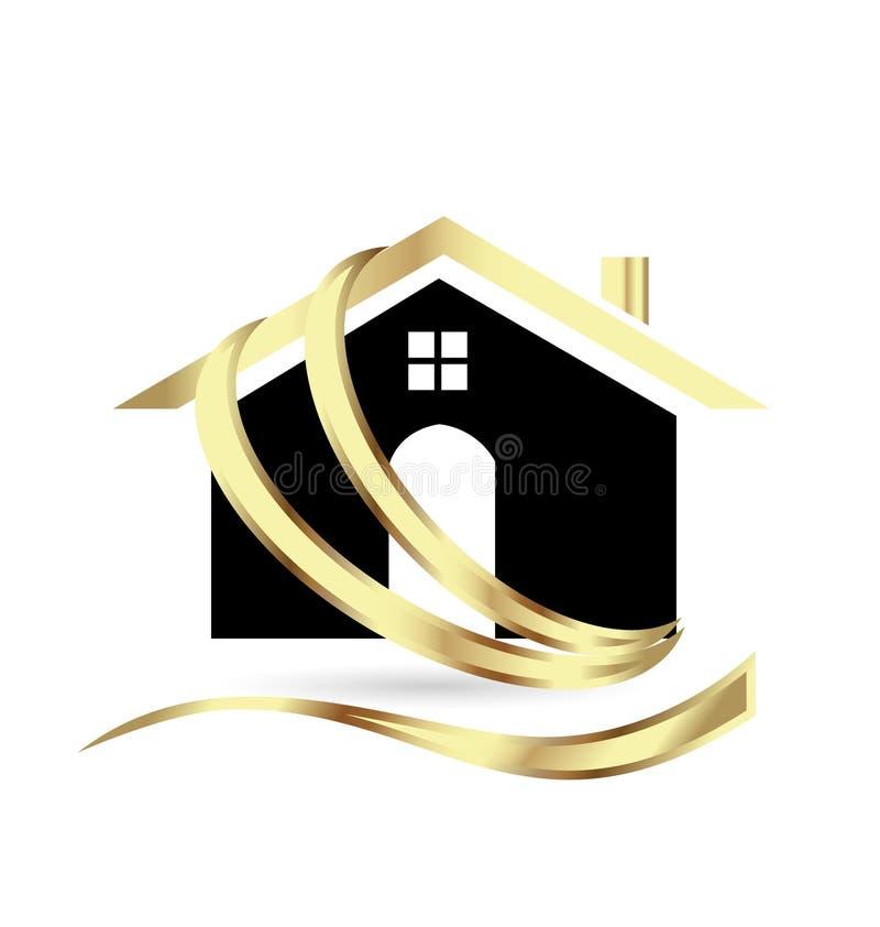 Casa moderna dorata, bene immobile, icona royalty illustrazione gratis