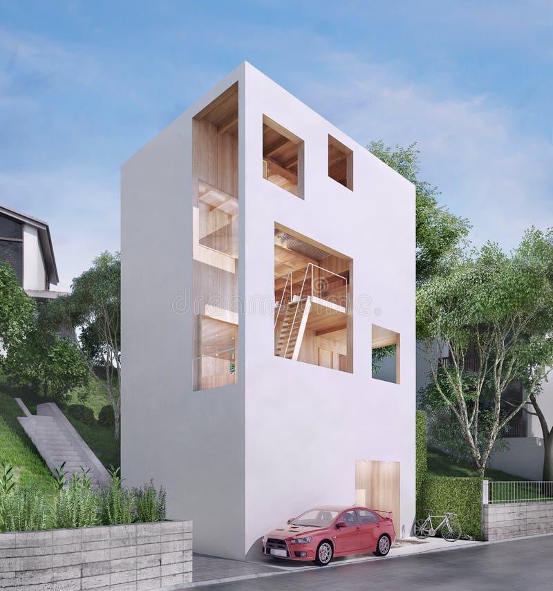 Casa moderna en estilo minimalista ilustración del vector