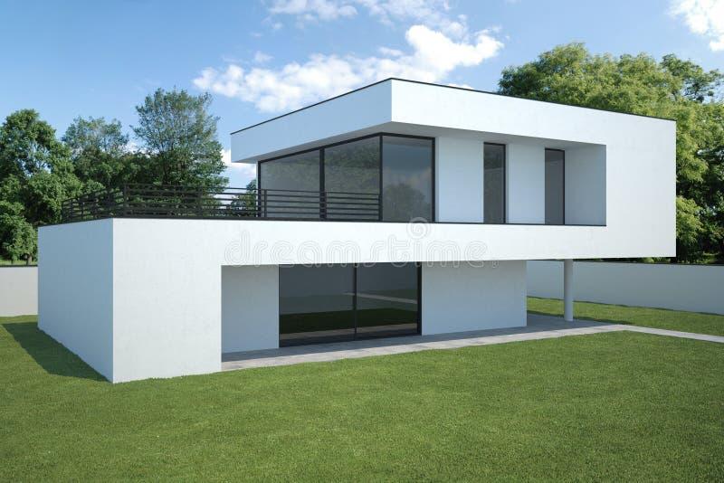 Casa moderna esterno con prato inglese illustrazione di for Casa moderna esterno