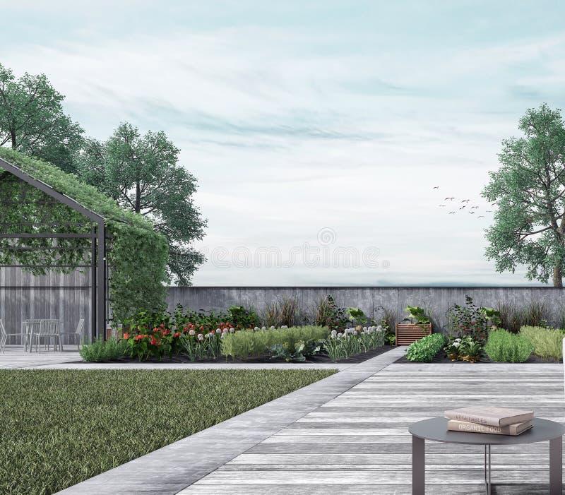 Casa moderna exterior con el jardín de verduras orgánico imagenes de archivo